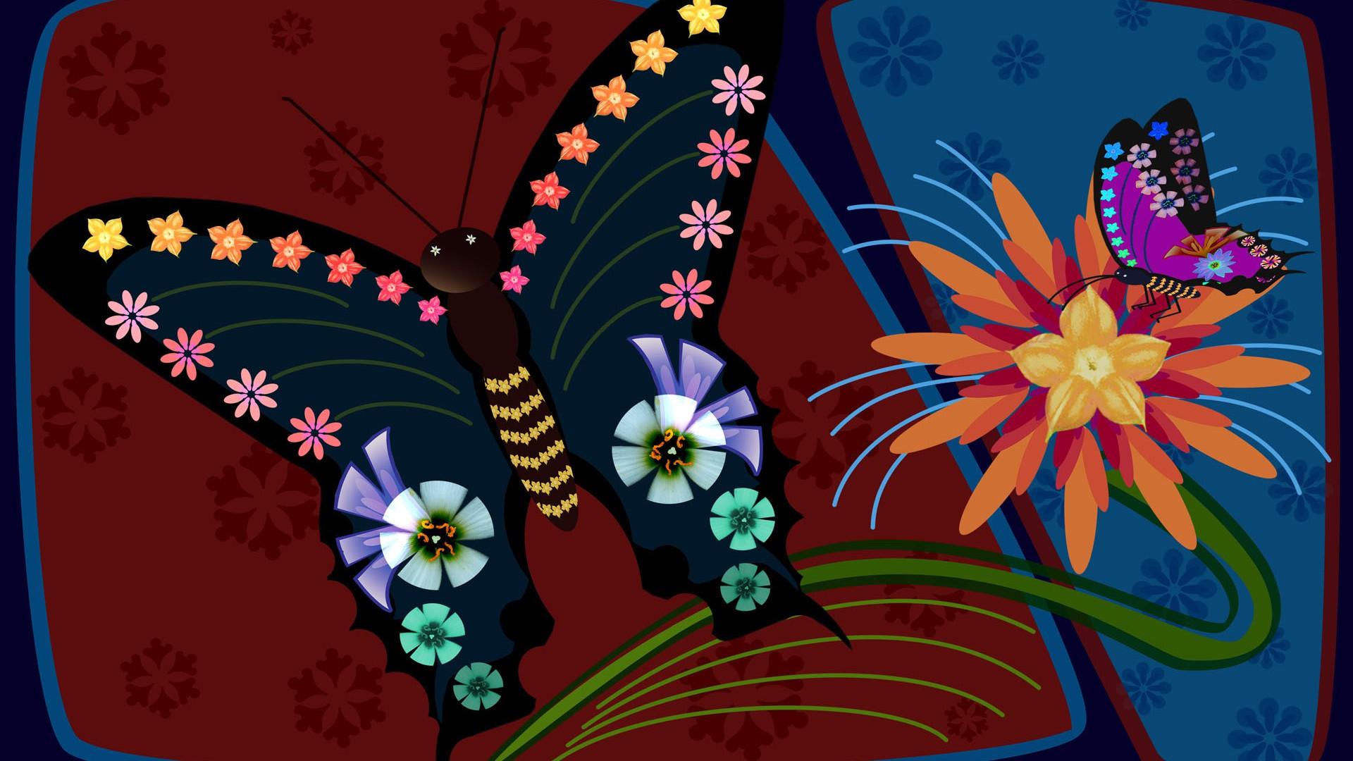 手绘鲜花精美背景素材图片