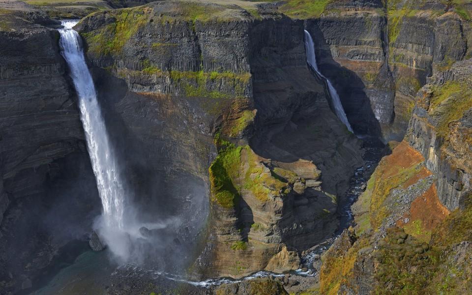 电脑壁纸 瀑布壁纸 冰岛win7官方桌面壁纸下载