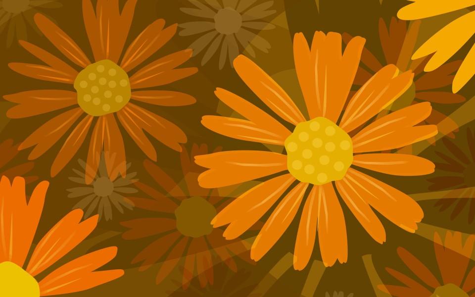 手绘鲜花精美桌面壁纸