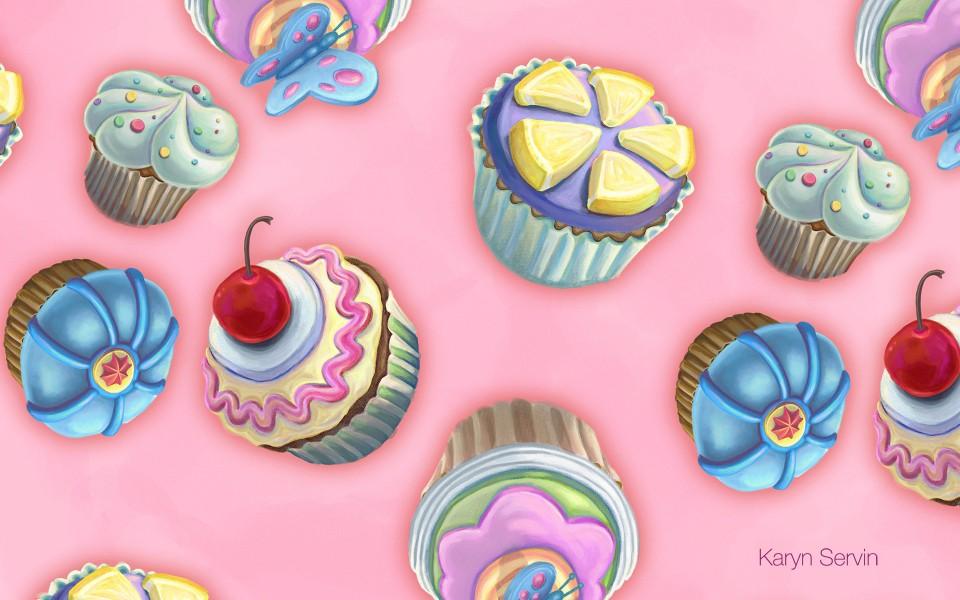 甜点糖果花纹背景宽屏壁纸