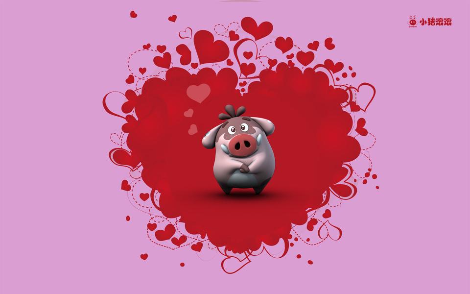情侣可爱猪桌面