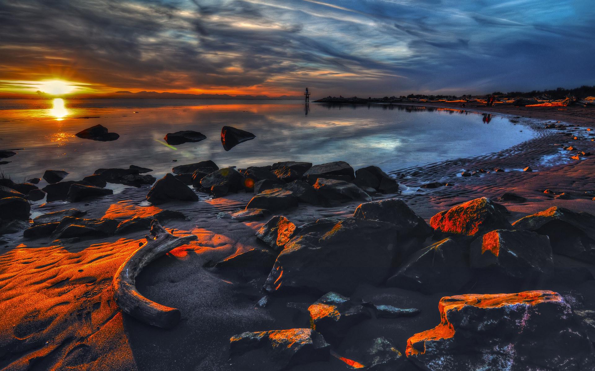 夕阳海景高清桌面壁纸图片
