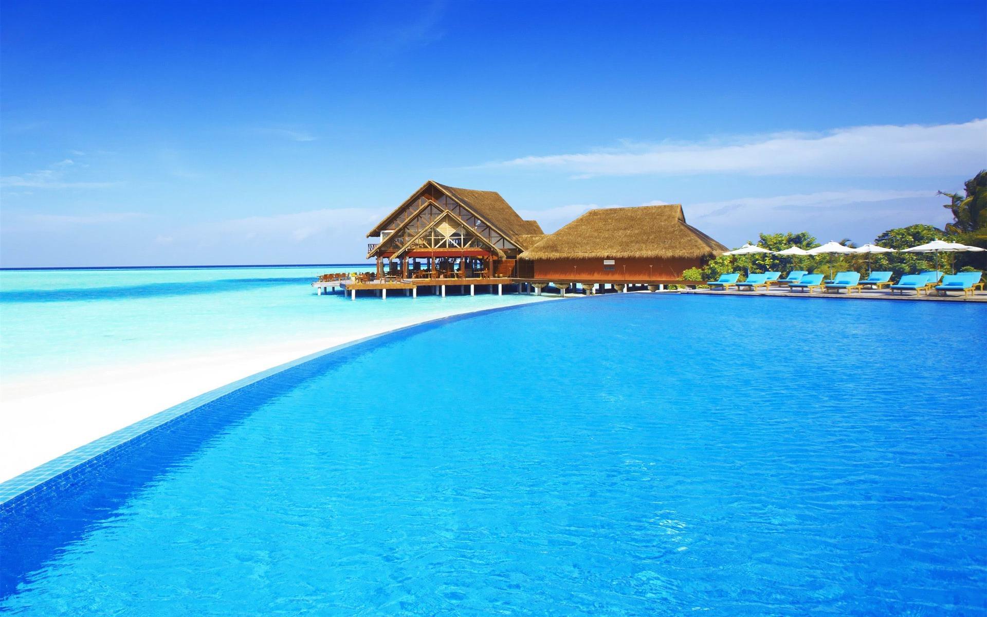 马尔代夫唯美海滩电脑壁纸图片