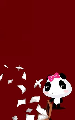 发呆的小熊猫卡通手机壁纸
