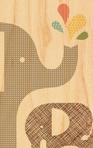 超可爱的小象插画手机壁纸