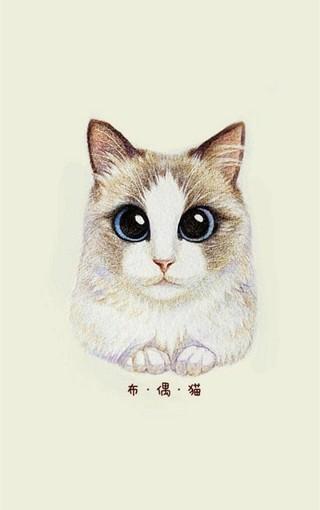 动物壁纸 可爱猫咪手绘手机壁纸