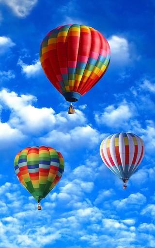 五彩斑斓热气球手机壁纸