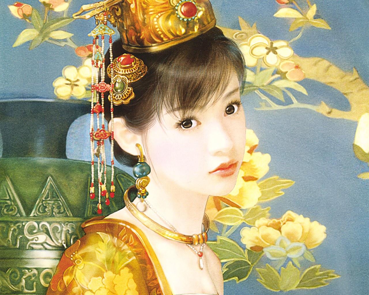 古装美女手绘清朝全身