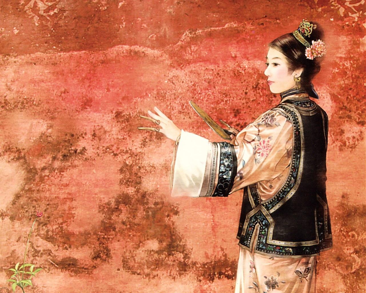 手绘清朝女子美图