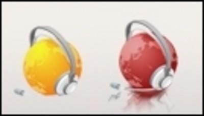戴耳机的地球png图标素材