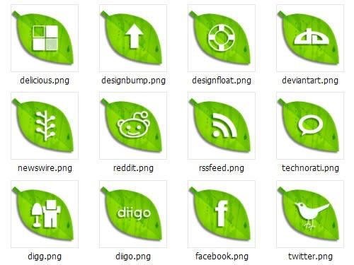 绿色叶子电脑桌面图标