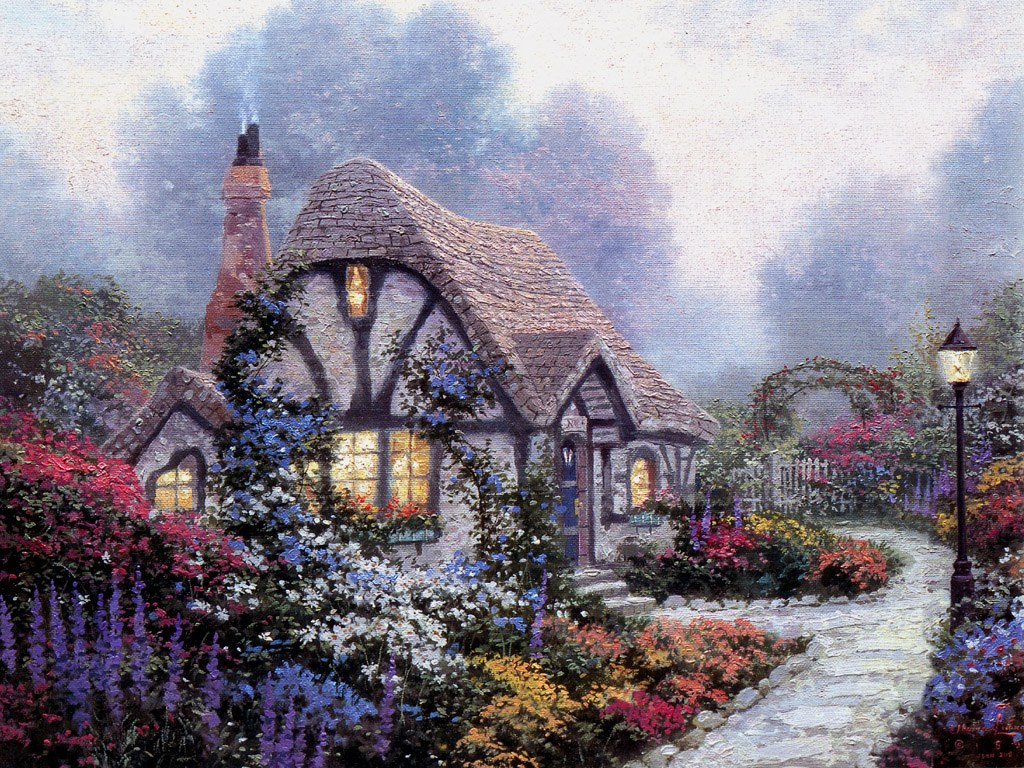 温馨田园风景油画壁纸
