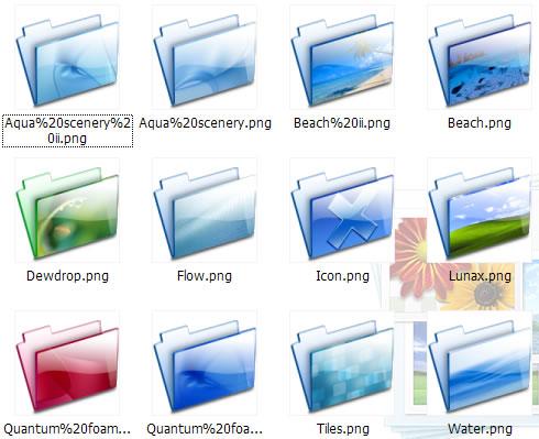 软件下载 素材库 鼠标指针 玻璃质感文件夹图标 应用截图