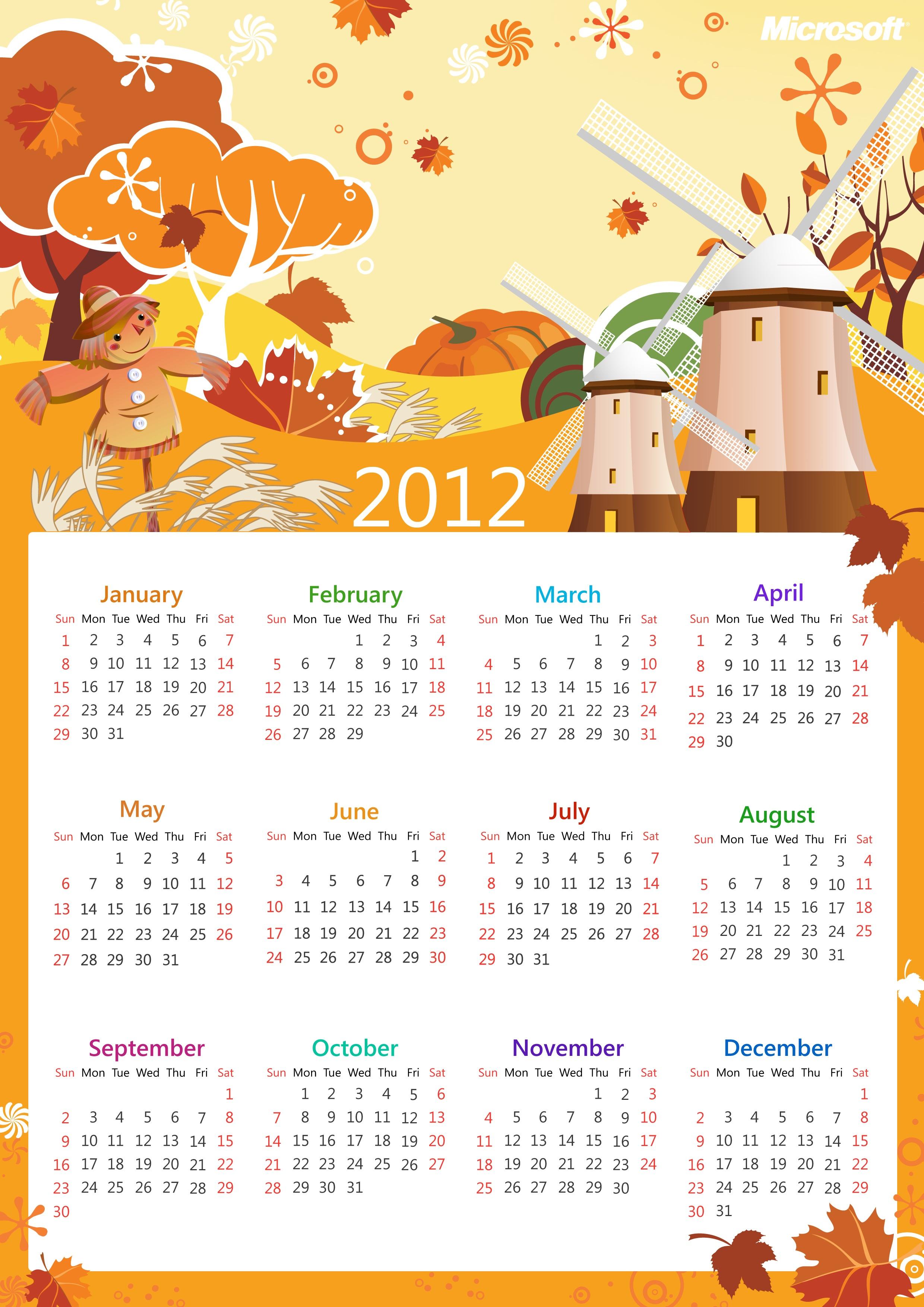 微软贺新春2012年最新年历壁纸 免费下载