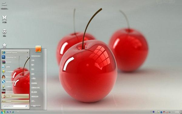 3D樱桃电脑桌面 截图图片