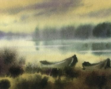 冬日暖阳,风景水彩画, 朦胧水彩画图片 &nbsp